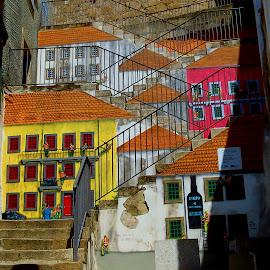 Graffiti on the stairs by Jorge Coelho - City,  Street & Park  Vistas ( stairs, graffiti, painting )
