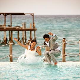 TTD by Andrew Morgan - Wedding Bride & Groom ( ttd, pool, happy, wedding, swim, wet )