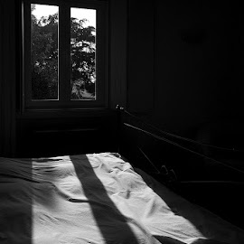 Absence by Artur Carvalho - Artistic Objects Furniture ( window, black and white, artistic, bedroom, shadows )