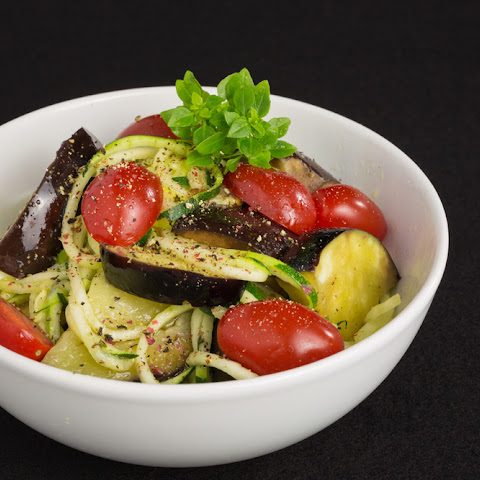 Aubergine, Tomato And Zoodles Winter Salad Warmer