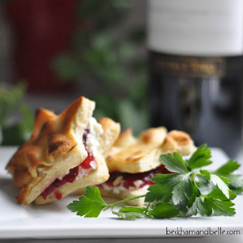 Cranberry, Goat Cheese & Roasted Garlic Naan Toasts