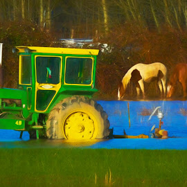 Get a horse! by Ken Wade - Transportation Other ( farm, flood, john deere, horse, tractor, rural )