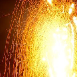 Mini Firework by Savannah Eubanks - Abstract Fire & Fireworks ( orange, firework, sparks, yellow )