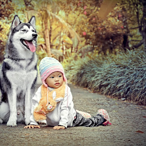 with my dog by Ai Khouw - Babies & Children Toddlers ( syal, sweater, warm, dream, litle girl, huskies, jeans, baby girl, dog portrait, beauty in nature, beauty, cute, hat, love, the dog, digital art, friendship, fur, husky, grey, best friend, baby, toddler, dog, feat )