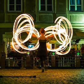 Woman dancing with the fire by Marcin Frąckiewicz - City,  Street & Park  Street Scenes ( dancing, women, fire )