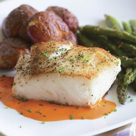 Sear-Roasted Halibut with Roasted Red Pepper Purée