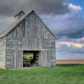 brown barn green tractor by Fraya Replinger - Buildings & Architecture Other Exteriors ( clouds, farm, sky, barn, country )