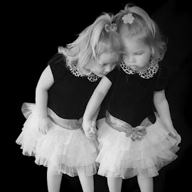 Never Alone by Debra Sharp - Babies & Children Child Portraits ( girls, children, fearful, in the dark, twins )