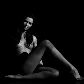Alone in the dark by Joseph Balson - Nudes & Boudoir Artistic Nude ( studio, nude, black and white, woman, fine art,  )