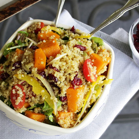Quinoa Salad with Roasted Pumpkin, Arugula and Cranberry