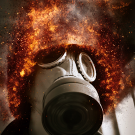 old gas mask by Denny Gruner - Artistic Objects Clothing & Accessories ( old, protective, clothing, covering, mask, security, bizarre, ashes, danger, soviet, chemical, toxic, dirty, dark, sparks, black, respirator, protection, jacket, rubber, hazard, pollution, burning, dangerous, posing, portrait, fire, disaster, gas, safety, hiding, explosion, contrasts, wear, radioactive, fear )