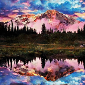 mountain mornings by Scott Bennett - Painting All Painting