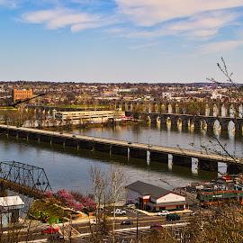 Four Bridges  by Gregory Evans - City,  Street & Park  Vistas ( waterscape, bridge, clouds )