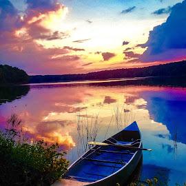 Canoeing at Glendale lake Pennsylvania  by Bryan Gruber - Transportation Boats