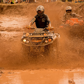 Racing ATV`s by Matt Pasqualetto - Transportation Other ( speeding, orange, mud, racing, brown, atv, fast, turns, black )