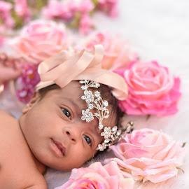 Princess by D K - Babies & Children Babies ( babies, princess, bed of roses, pink, baby )