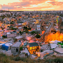 Goreme City by Indrawaty Arifin - City,  Street & Park  Skylines ( goreme, cityscape, evening, turki, cappadocia )