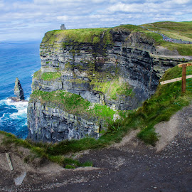 The Cliffs of Moher by Trevor Fairbank - Landscapes Travel ( cliffs, ireland, county claire, green, cliffs of moher, travel, landscape )