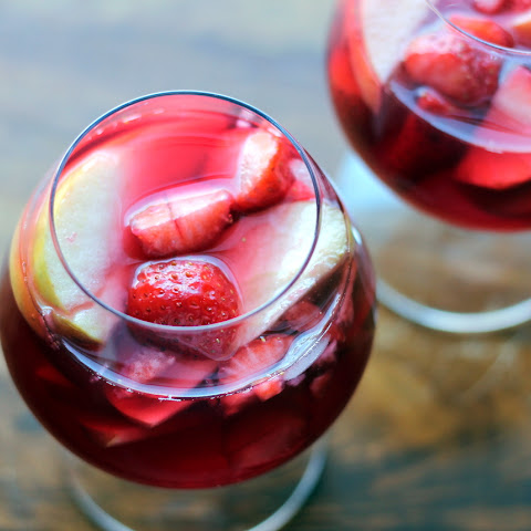 Cranberry Red Wine Punch with Apples & Strawberries