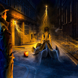 Midnight by Melissa Connors - Digital Art People ( pumpkin, woman, night, transformation, man )