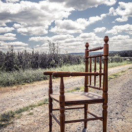 Chair on a dirt road by Denny Gruner - Artistic Objects Furniture ( old, single, freedom, retro, road, furniture, landscape, tranquil, sky, nature, dirty, empty, dirt, light, alone, clouds, grass, green, waiting, chair, wooden, outdoor, meadow, summer, scene, day )