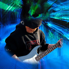 Guitar Guy by Linda Doerr - Digital Art People ( abstract, playing, blue, digital art, guitarist, guitar,  )