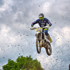 Here I Am ! by Marco Bertamé - Sports & Fitness Motorsports ( clouds, wheel, speed, green, number, 26, race, noise, jump, flying, motocross, blue, clumps, cloudy, air, grey, high )