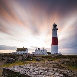 Portland Bill Sunrise by Charlie Davidson - Buildings & Architecture Other Interior ( england, lighthouse, long exposure, sunrise, landscape, rocks, dorset )