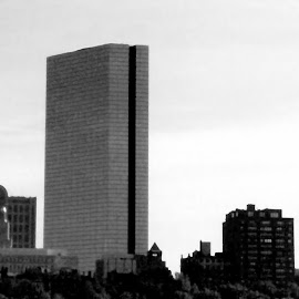 Boston MA Skyline 1 Black And White by RMC Rochester - Black & White Buildings & Architecture ( abstract, black and white, random, buildings, architecture, city,  )
