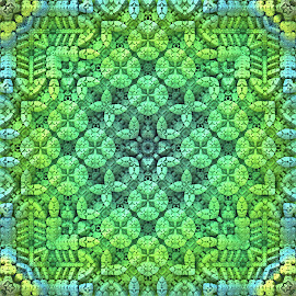 Secret Garden by Lyle Hatch - Illustration Abstract & Patterns ( secret garden, 3d, green, mandelbulb 3d, detailed, square format, 3-d, leafy, fractal, garden, intricate, three dimensional )
