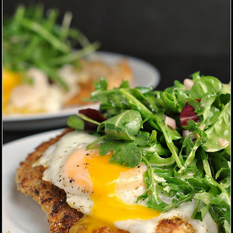 Crispy Baked Chicken with Egg and Arugula Salad