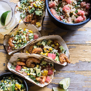 Zesty Grilled Shrimp Tacos with South of the Border Corn and Cotija Salsa.
