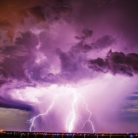 Surreal Lightning by Glenn Patterson - Landscapes Weather ( clouds, lightning, sky, thunderstorm, storm, rain,  )