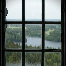 View through the window by Simo Järvinen - City,  Street & Park  Vistas ( window, aulanko, finland, forest, lake, view, hämeenlinna )