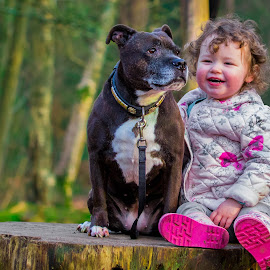 Dog and child by Jenny Trigg - Babies & Children Toddlers ( child, staffordshire bull terrier, dog, staffie, photography,  )