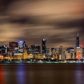 The Chicago Skyline by Jim Hamel - City,  Street & Park  Skylines ( clouds, skyline, illinois, night, chicago )