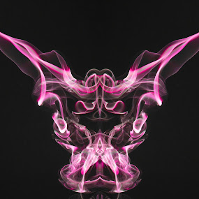 Smoke Abstract by Sim  Chee teck - Abstract Fine Art ( abstract, purple, symmetry, light, devil, smoke, animal )