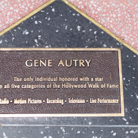 Gene Autry's star by Sandy Stevens Krassinger - Buildings & Architecture Public & Historical ( red, stars, awards, historical, black, walk of fame )