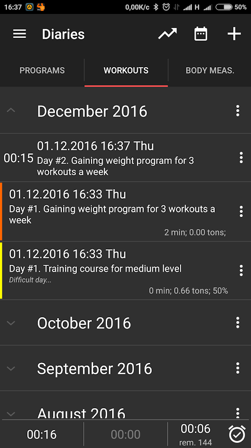 GymUp Pro workout notebook Screenshot 0