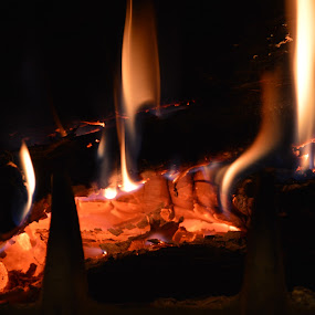 fire in the chimney focus by Emilie Robert - Public Holidays Christmas ( home, winter, cold, romantic, chalet, chimney, confort, fire )