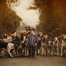 guardians by Konrad Świtlicki-Paprocki - Animals - Dogs Playing ( child, lifestle, dogs, candit, portrait )