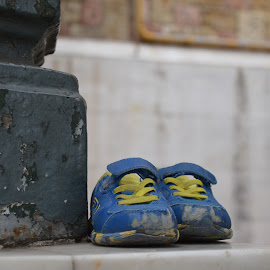Abandoned memories by Maria Gerolymatou - Artistic Objects Clothing & Accessories ( children's shoes, shoes, abandoned shoes, blue shoes, old shoes )