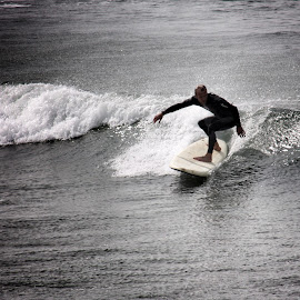 Surfing at Woolacoombe by Garry Warren - Sports & Fitness Surfing ( woolacoombe, surfer, devon, summer, sport, seaside, beach )