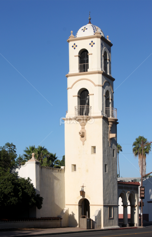 Ojai Post Office Tower by Henrik Lehnerer - Buildings & Architecture Public & Historical ( famous, old, america, exterior, dome, travel, architecture, attraction, historic, city, sky, southern, ojai, office, building, structure, spanish, post, symbol, california, traditional, tourism, history, urban, landmark, tower, tourist, vacation, facade, window, blue, architectural, historical, design, culture )