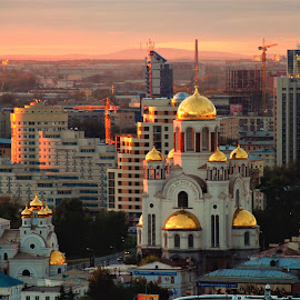 Sunset in Ekaterinburg by Tomasz Budziak - City,  Street & Park  Historic Districts ( historic district, russia, city, sunset )