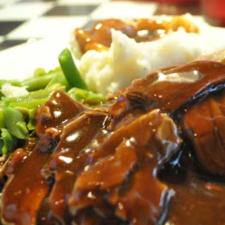 Hot Open Faced Roast Beef Sandwich