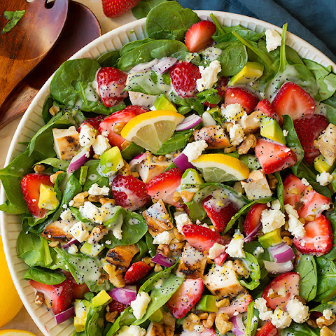 Strawberry Avocado Spinach Salad with Grilled Chicken and Lemon Poppy Seed Dressing