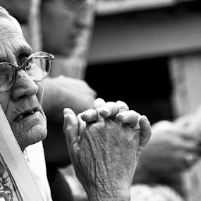 Essence of God! by Soumish De - People Portraits of Women ( old lady, black and white, woman, india, people, portrait,  )