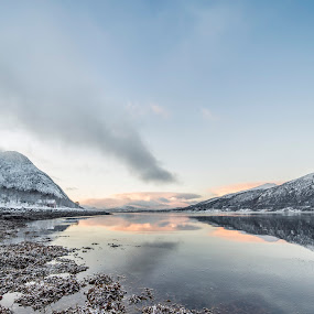 red clouds by Benny Høynes - Landscapes Cloud Formations ( clouds, mountains, winter, sea, norway )