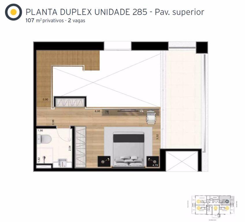 Planta Cobertura Duplex Superior Final 5 - 107 m²